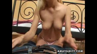 Busty blonde amateur girlfriend sucks and fucks at home