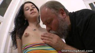 Olga has her breasts licked by older man