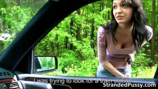Beautiful brunette Belle gets fucked in doggystyle in the backseat