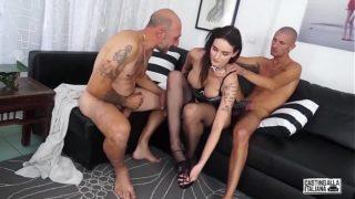 CASTING ALLA ITALIANA – Italian brunette maid anal fucked in hot MMF threesome