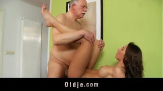Young capricious mistress fucks with her old butler