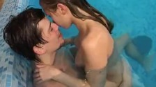 Hot pool fuck with a sexy teen