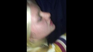 Cute and petite blonde teen's first video