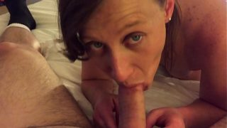 Cheap hooker with pretty eyes sucking my dick