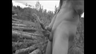 Masturbating in the woods